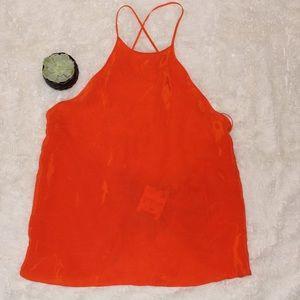 Zara Orange Racerback Tank Top with Open Back